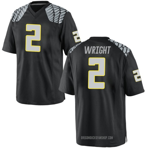 Youth Nike Mykael Wright Oregon Ducks Game Black Football College Jersey