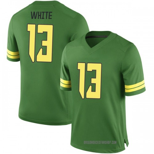 Youth Nike Paul White Oregon Ducks Game White Green Football College Jersey