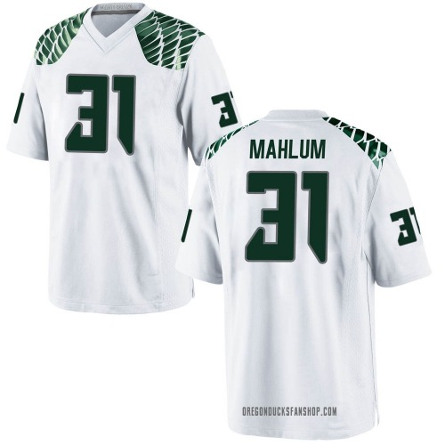 Youth Nike Race Mahlum Oregon Ducks Game White Football College Jersey