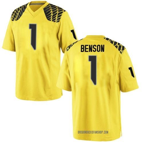 Youth Nike Trey Benson Oregon Ducks Game Gold Football College Jersey