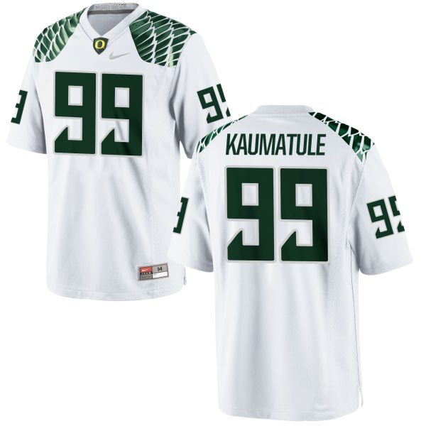 Men's Nike Canton Kaumatule Oregon Ducks Game White Football Jersey