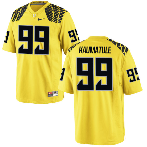 Men's Nike Canton Kaumatule Oregon Ducks Game Gold Football Jersey