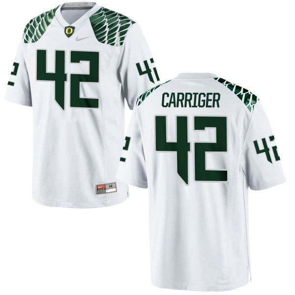 Men's Nike Cody Carriger Oregon Ducks Game White Football Jersey