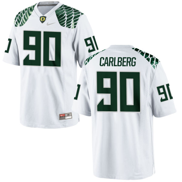 Men's Nike Drayton Carlberg Oregon Ducks Game White Football Jersey