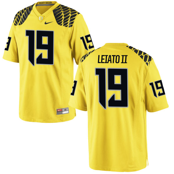 Men's Nike Fotu T. Leiato II Oregon Ducks Authentic Gold Football Jersey