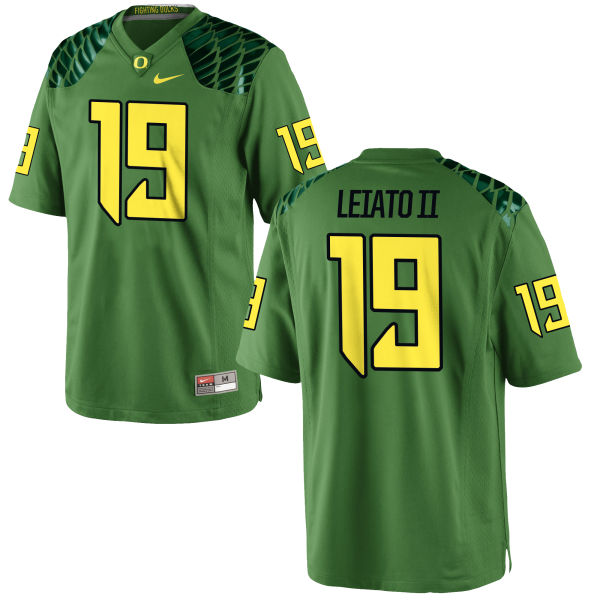Men's Nike Fotu T. Leiato II Oregon Ducks Game Green Alternate Football Jersey Apple
