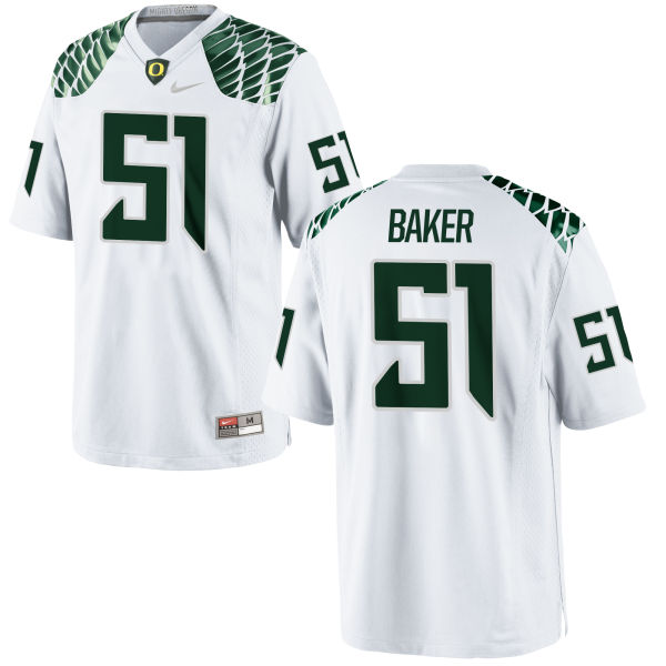 Men's Nike Gary Baker Oregon Ducks Game White Football Jersey