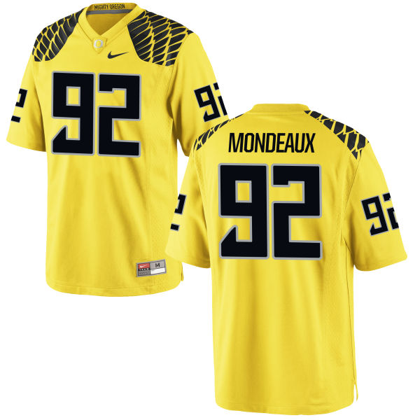 Men's Nike Henry Mondeaux Oregon Ducks Game Gold Football Jersey