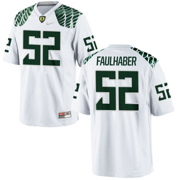 Men's Nike Ivan Faulhaber Oregon Ducks Game White Football Jersey