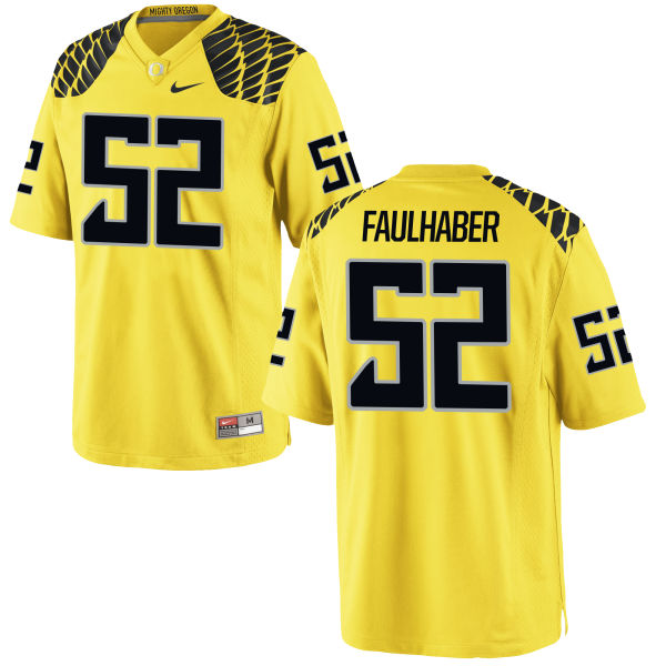 Men's Nike Ivan Faulhaber Oregon Ducks Game Gold Football Jersey