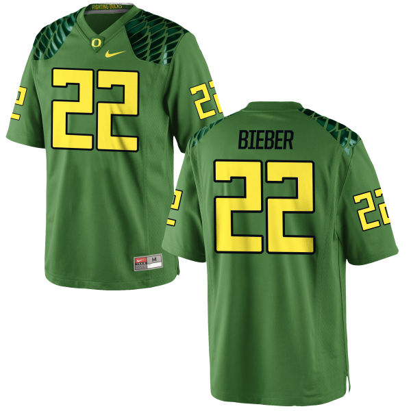 Men's Nike Jeff Bieber Oregon Ducks Game Green Alternate Football Jersey Apple
