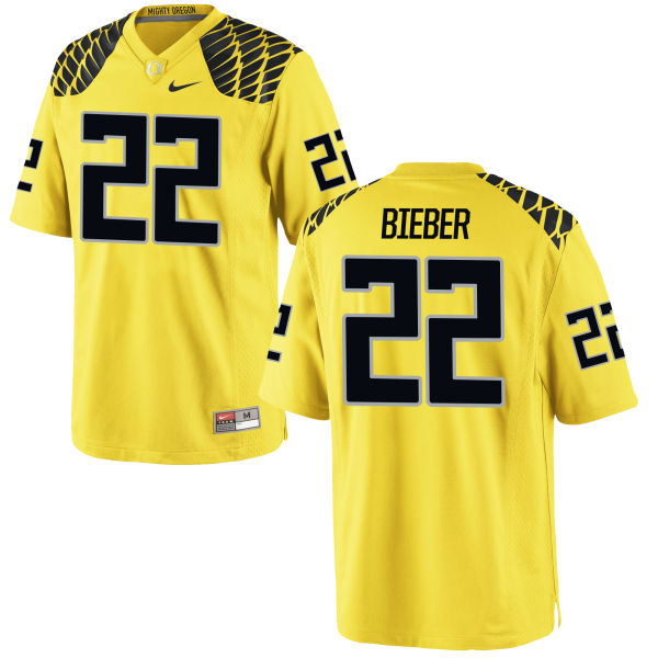 Men's Nike Jeff Bieber Oregon Ducks Game Gold Football Jersey