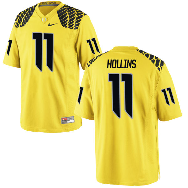 Men's Nike Justin Hollins Oregon Ducks Authentic Gold Football Jersey