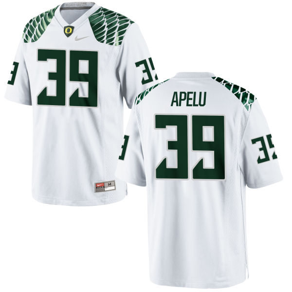 Men's Nike Kaulana Apelu Oregon Ducks Authentic White Football Jersey
