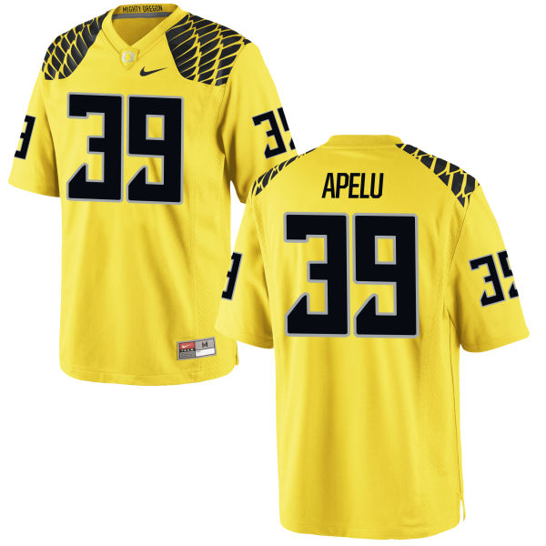 Men's Nike Kaulana Apelu Oregon Ducks Game Gold Football Jersey