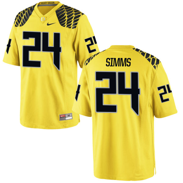 Men's Nike Keith Simms Oregon Ducks Authentic Gold Football Jersey