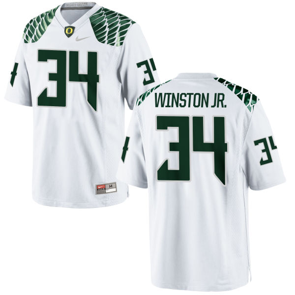 Men's Nike La'Mar Winston Jr. Oregon Ducks Game White Football Jersey