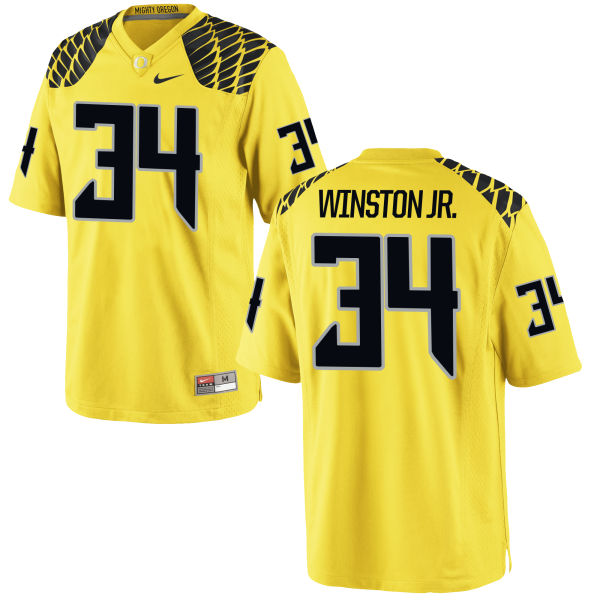 Men's Nike La'Mar Winston Jr. Oregon Ducks Game Gold Football Jersey