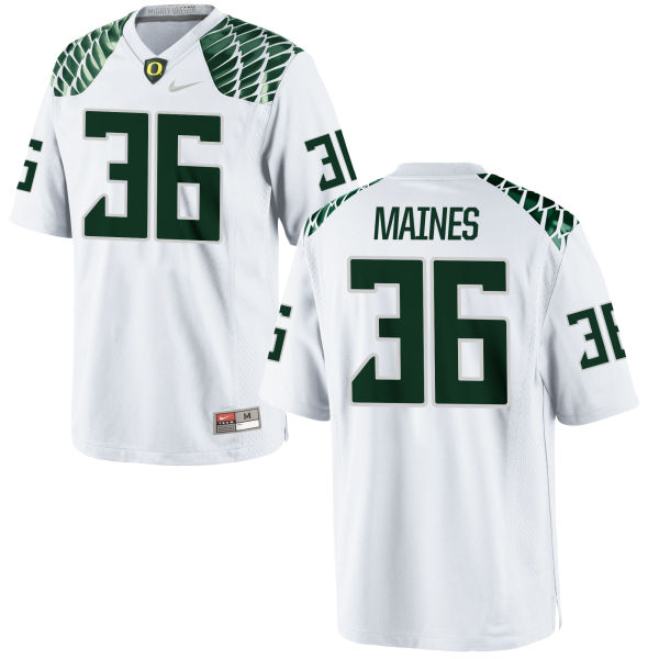Men's Nike Steve Maines Oregon Ducks Game White Football Jersey