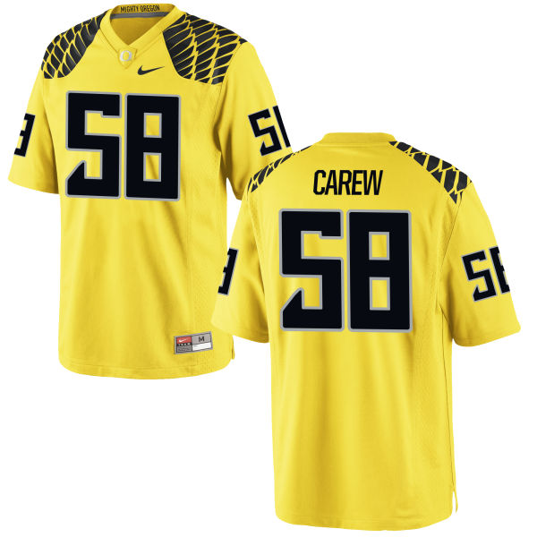 Men's Nike Tanner Carew Oregon Ducks Authentic Gold Football Jersey