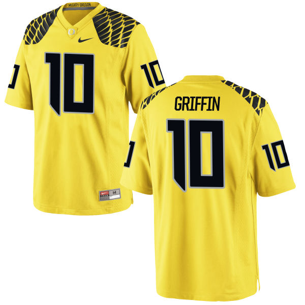 Men's Nike Ty Griffin Oregon Ducks Game Gold Football Jersey