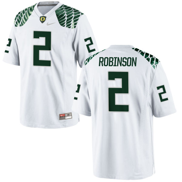 Men's Nike Tyree Robinson Oregon Ducks Game White Football Jersey