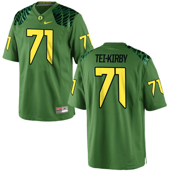 Men's Nike Wayne Tei-Kirby Oregon Ducks Game Green Alternate Football Jersey Apple