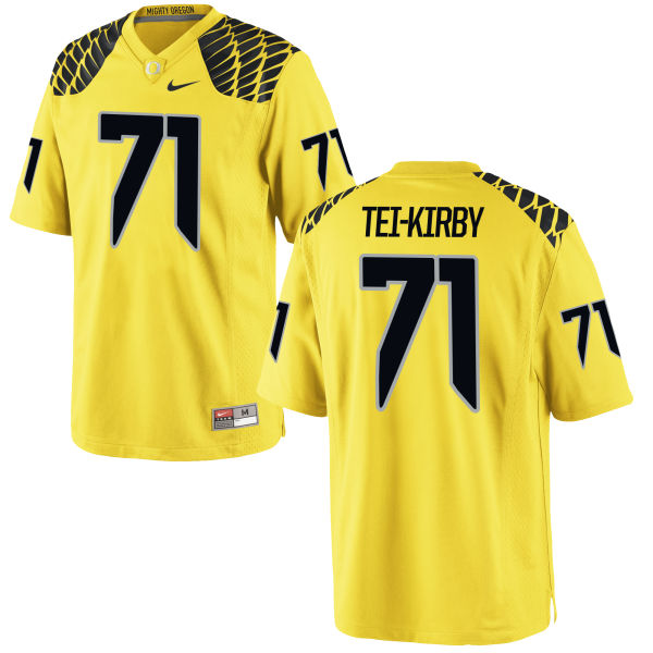 Men's Nike Wayne Tei-Kirby Oregon Ducks Game Gold Football Jersey